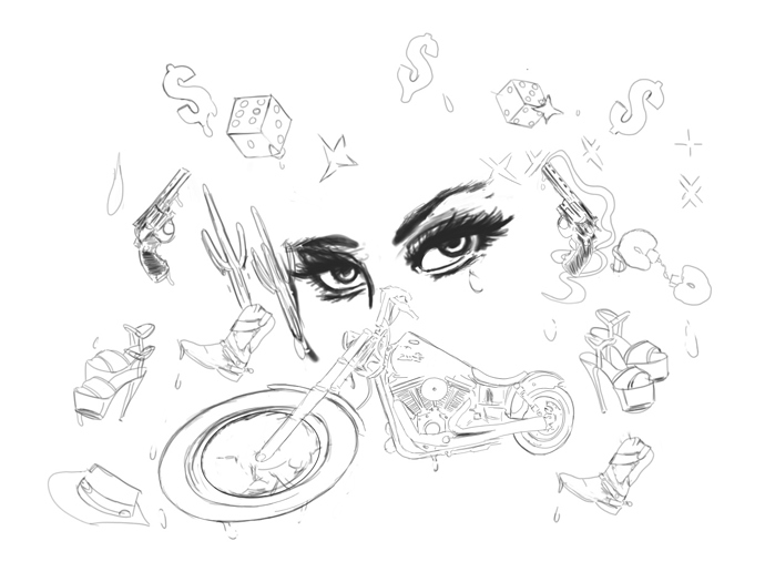 Woman with eyes final sketch outline. Photo