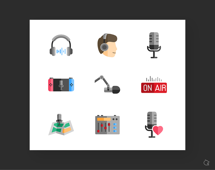 Podcast icons set