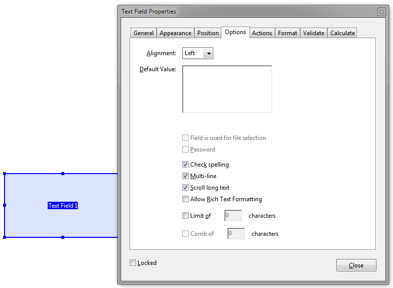 Interactive Form from InDesign Multiline not working